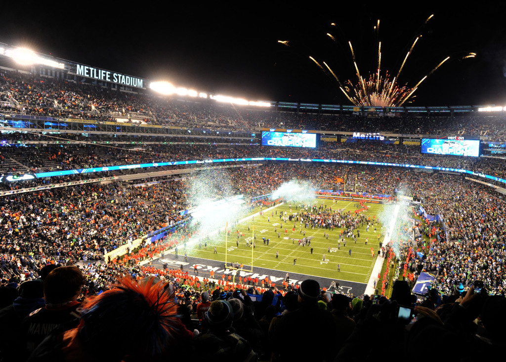 Fireworks go off as the Seattle Seahawks win following the Super Bowl XLVIII at MetLife Stadium in East Rutherford, New Jersey on February 2, 2014. The Seattle Seahawks whipped the Denver Broncos 43-8 in the first Super Bowl held in a cold weather site. UPI/Dennis Van Tine